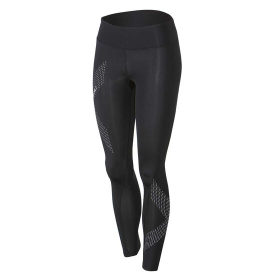 2XU Mid Rise Womens Compression Tights, Black / Silver, rebel_hi-res
