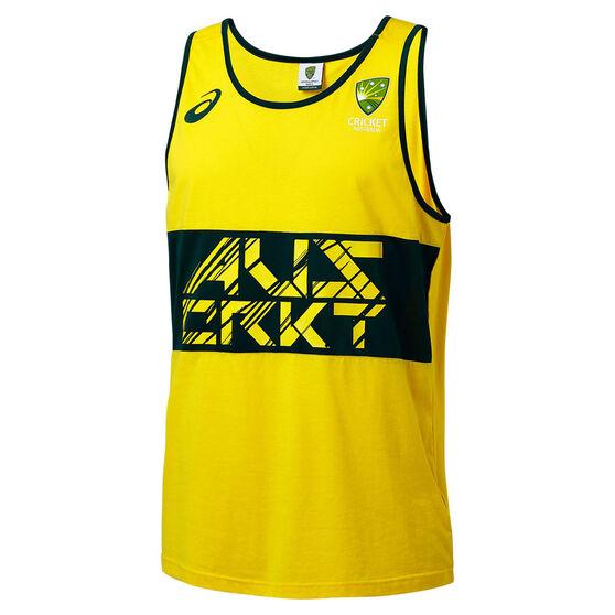 Cricket Australia 2018/19 Mens Supporter Singlet Yellow XXL, Yellow, rebel_hi-res