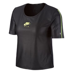 Nike Air Womens Running Tee Black XS, Black, rebel_hi-res