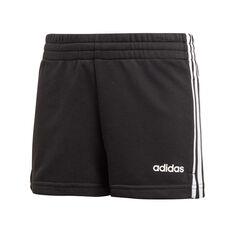 adidas Girls 3 Stripes Shorts Black / White 6, Black / White, rebel_hi-res