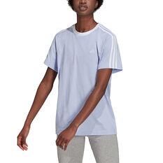adidas Womens Essentials 3-Stripes Boyfriend Tee, Purple, rebel_hi-res