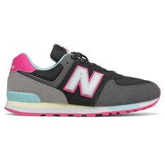 New Balance 574 Kids Casual Shoes Black/Pink US 4, Black/Pink, rebel_hi-res
