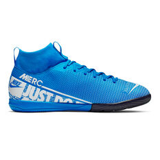 Nike Mercurial Superfly VII Academy Kids Indoor Soccer Shoes Blue / White US 2, Blue / White, rebel_hi-res