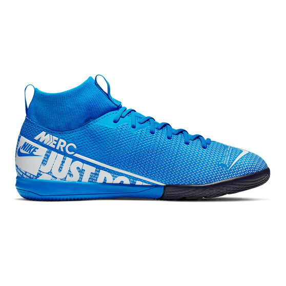 Nike Mercurial Superfly VII Academy Kids Indoor Soccer Shoes, Blue / White, rebel_hi-res