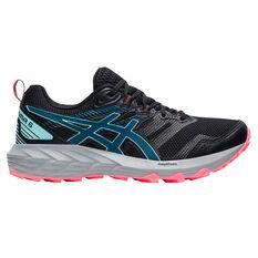 Asics GEL Sonoma 6 Womens Trail Running Shoes Black/Blue US 6, Black/Blue, rebel_hi-res