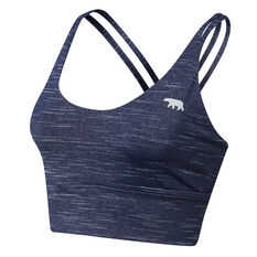 Running Bare Womens Lotus Long Line Sports Bra Navy 8, Navy, rebel_hi-res