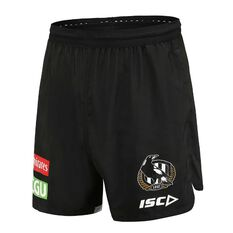 Collingwood Magpies 2020 Mens Training Shorts Black S, Black, rebel_hi-res
