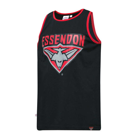 Essendon Bombers Mens Supporter Logo Tank, Black, rebel_hi-res