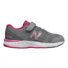 New Balance 680v5 Junior Kids Running Shoes Grey / Pink US 11, Grey / Pink, rebel_hi-res