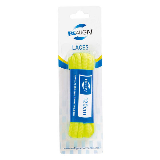 Realign Oval 120cm Fluro Shoe Laces Yellow, , rebel_hi-res