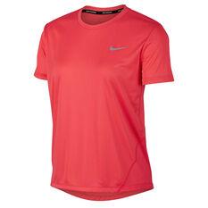 Nike Womens Miler Tee Red XS, Red, rebel_hi-res
