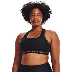 Under Armour Womens Mid Crossback 80s Sports Bra Black XS, Black, rebel_hi-res