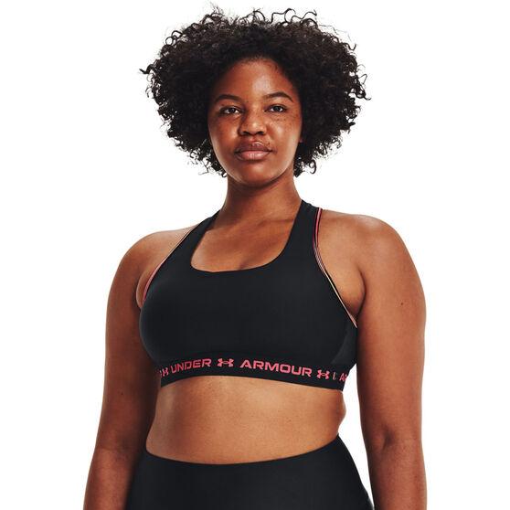 Under Armour Womens Mid Crossback 80s Sports Bra, Black, rebel_hi-res