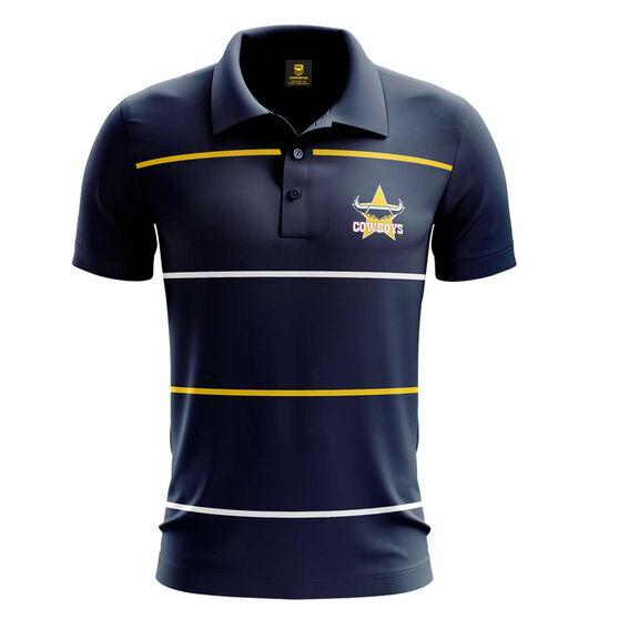North Queensland Cowboys Mens Club Line Performance Polo, Navy, rebel_hi-res