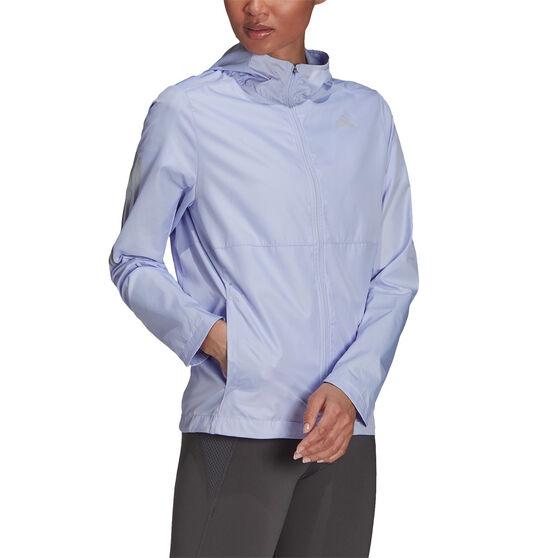 adidas Womens Own The Run Hooded Wind Jacket, Purple, rebel_hi-res