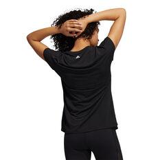 adidas Womens 3-Stripes Training Tee Black XS, Black, rebel_hi-res