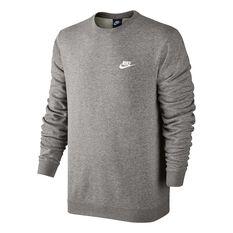 Nike Mens Sportswear Crew Sweater Grey / White S, Grey / White, rebel_hi-res