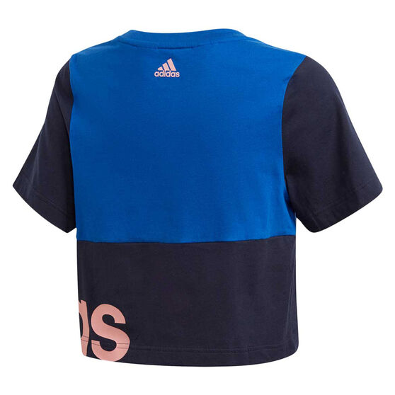 adidas Girls Linear Colourblock Tee, Blue, rebel_hi-res