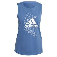 adidas Womens Essentials Stacked Logo Tank Blue XS, Blue, rebel_hi-res