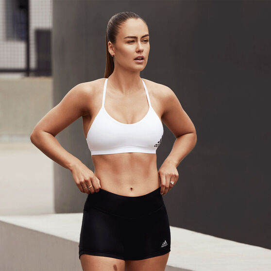adidas Womens All Me Padded Sports Bra, White, rebel_hi-res