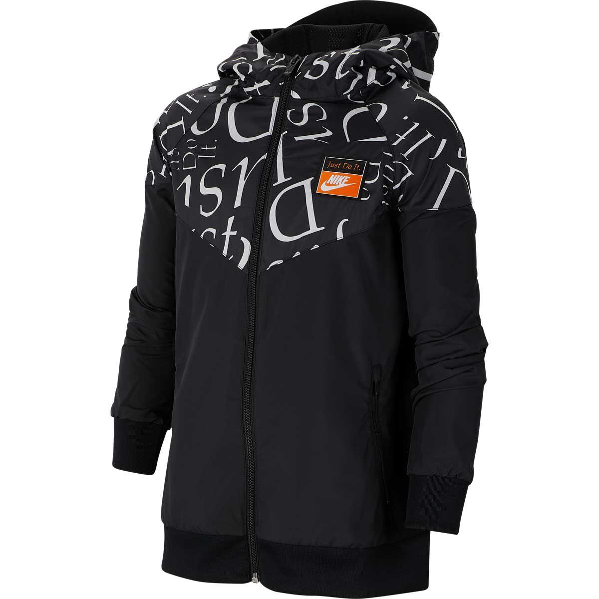 nike windrunner womens jacket windbreaker hoodie black white