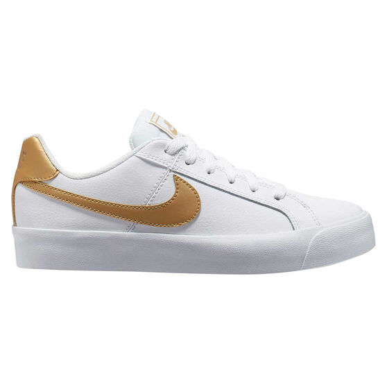 Nike Court Royale AC SE Womens Casual Shoes, White / Gold, rebel_hi-res