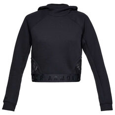 Under Armour Womens Move Light Crop Hoodie Black XS, Black, rebel_hi-res