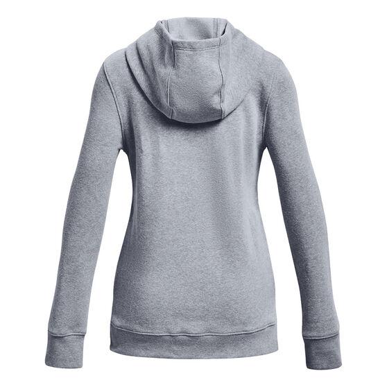 Under Armour Girls Rival Fleece Logo Hoodie, Grey, rebel_hi-res