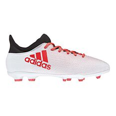 adidas X 17.3 FG Junior Football Boots Grey / Red US 11 Junior, Grey / Red, rebel_hi-res