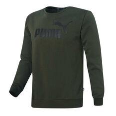 Puma Mens Essentials Fleece Logo Sweatshirt Green S, Green, rebel_hi-res