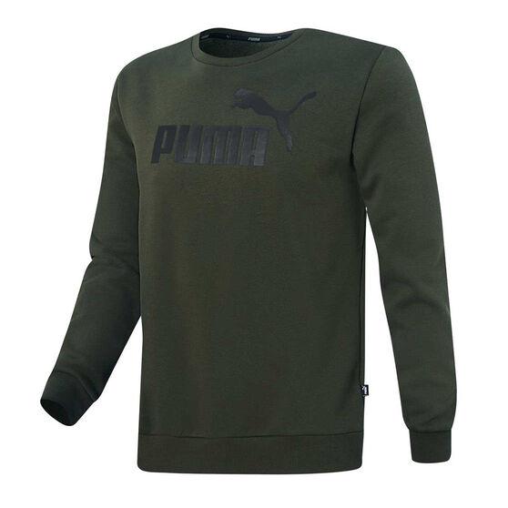 Puma Mens Essentials Fleece Logo Sweatshirt, Green, rebel_hi-res