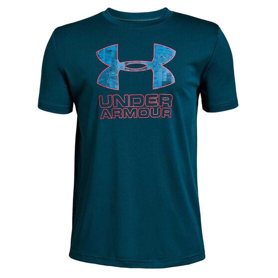 Under Armour Boys Print Fill Logo Tee, Blue, rebel_hi-res