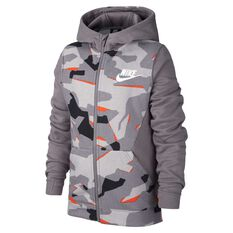 Nike Boys Full-Zip Camo Hoodie Grey / White XS, Grey / White, rebel_hi-res