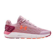 Under Armour Charged Rogue Kids Running Shoes Pink US 4, Pink, rebel_hi-res