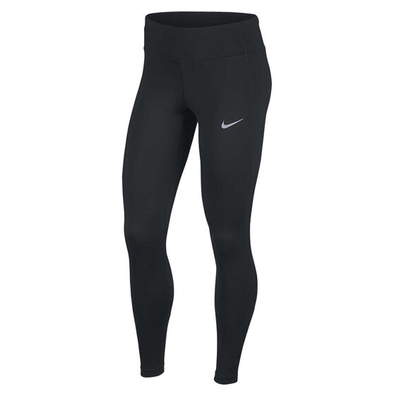 Nike Womens Racer Running Tights, Black / Silver, rebel_hi-res