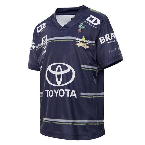 North Queensland Cowboys 2021 Kids Defence Jersey, Navy, rebel_hi-res
