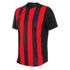 Umbro Mens Striped Jersey Black / Red S, Black / Red, rebel_hi-res