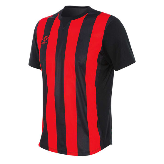 Umbro Mens Striped Jersey, Black / Red, rebel_hi-res