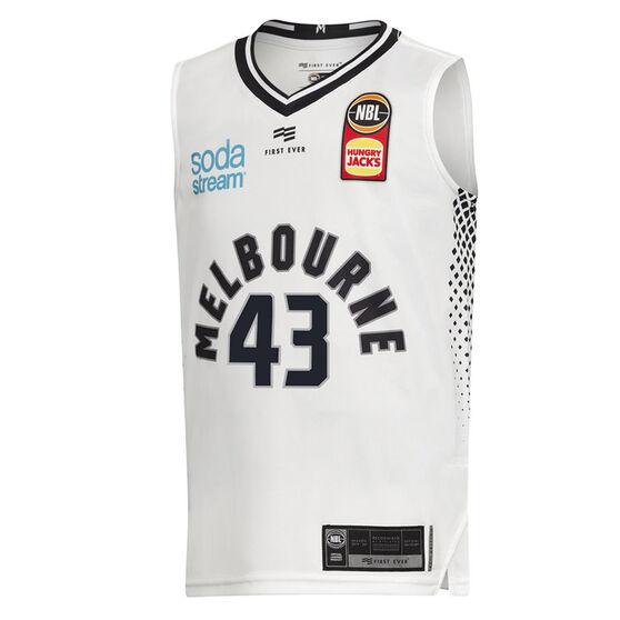 Melbourne United Chris Goulding 2019/20 Away Home Jersey, White, rebel_hi-res