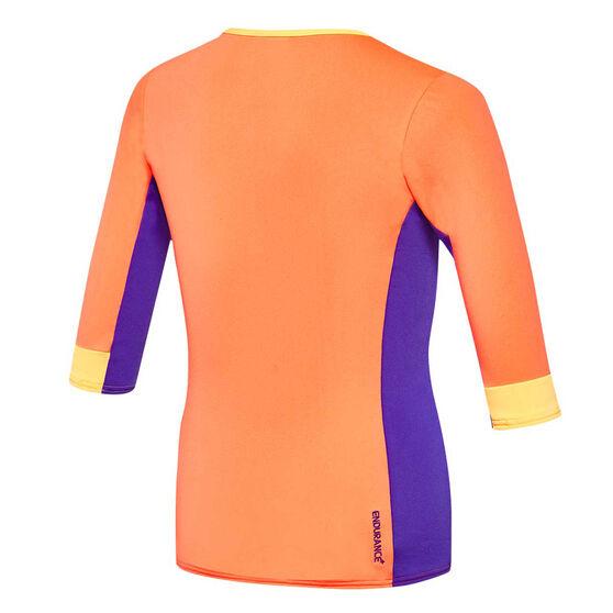 Speedo Girls Zip Up 3 Quarter Sun Top, Orange / Purple, rebel_hi-res