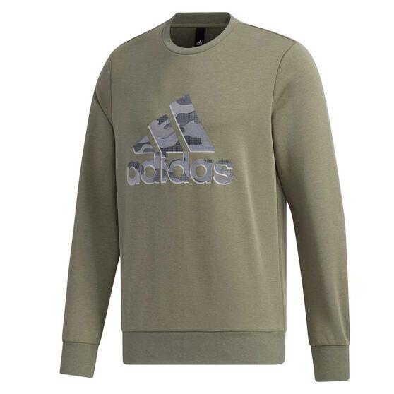 adidas Mens Must Haves Badge of Sport Sweatshirt, Green, rebel_hi-res