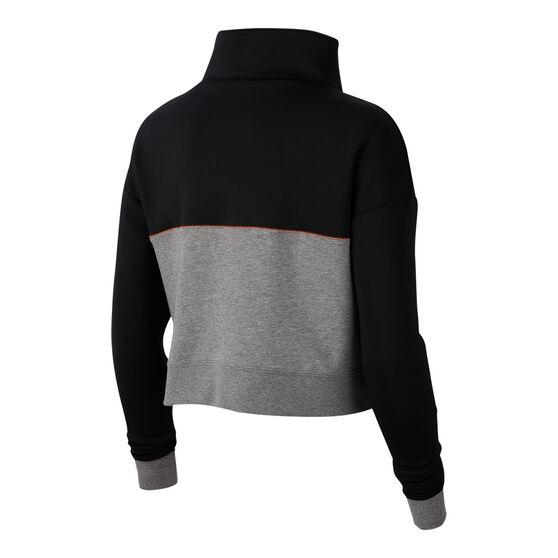 Nike Womens Pro Get Fit 1/2 Zip Jacket Black / Grey XL, Black / Grey, rebel_hi-res