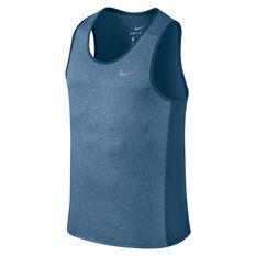 Nike Mens Miler Running Tank Blue S, Blue, rebel_hi-res