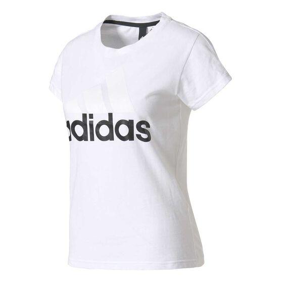 adidas Womens Essentials Linear Tee White XS, White, rebel_hi-res