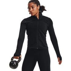 Under Armour Womens UA Rush Full Zip Top Black XS, Black, rebel_hi-res