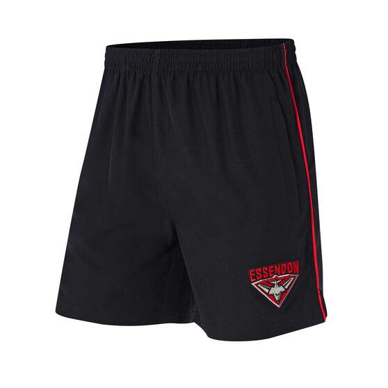 Essendon Bombers Mens Core Training Shorts, Black, rebel_hi-res