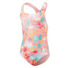 Speedo Girls Leisure Unicorn Racerback One Piece Swimsuit Pink 4, Pink, rebel_hi-res