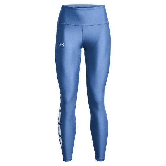 Under Armour Womens HeatGear Wordmark Branded Tights, Blue, rebel_hi-res