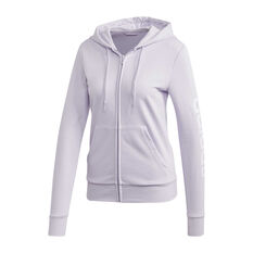 adidas Womens Essentials Linear Full Zip Hoodie Purple XS, Purple, rebel_hi-res