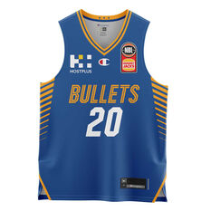 Brisbane Bullets  Home Nathan Sobey 20/21 Kids Home Jersey, Blue, rebel_hi-res